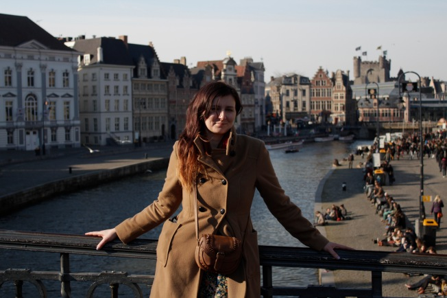 Fiona on bridge in Gent